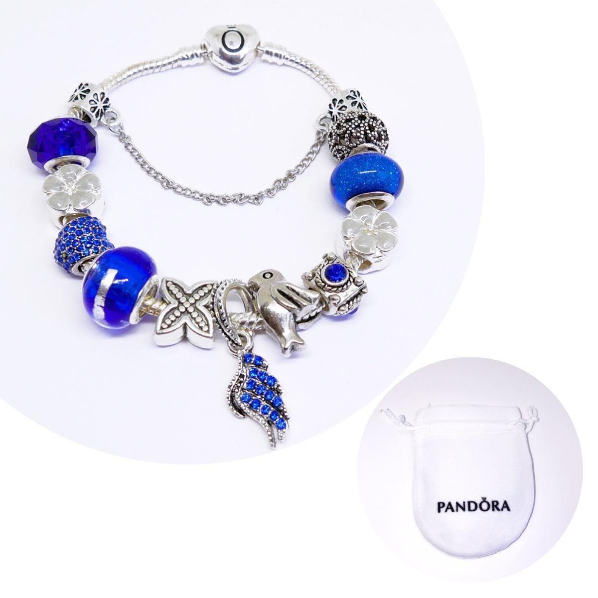 pulsera tipo pandora azul
