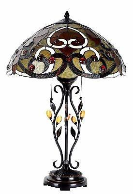 estilo tiffany lámpara remolino conchas mesa escritorio...