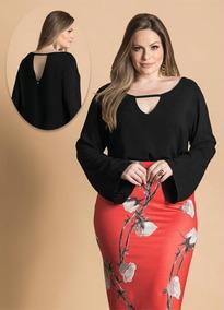 2b31f125d3 Blusa Plus Size Feminina Manga Estilo Boca De Sino Linda