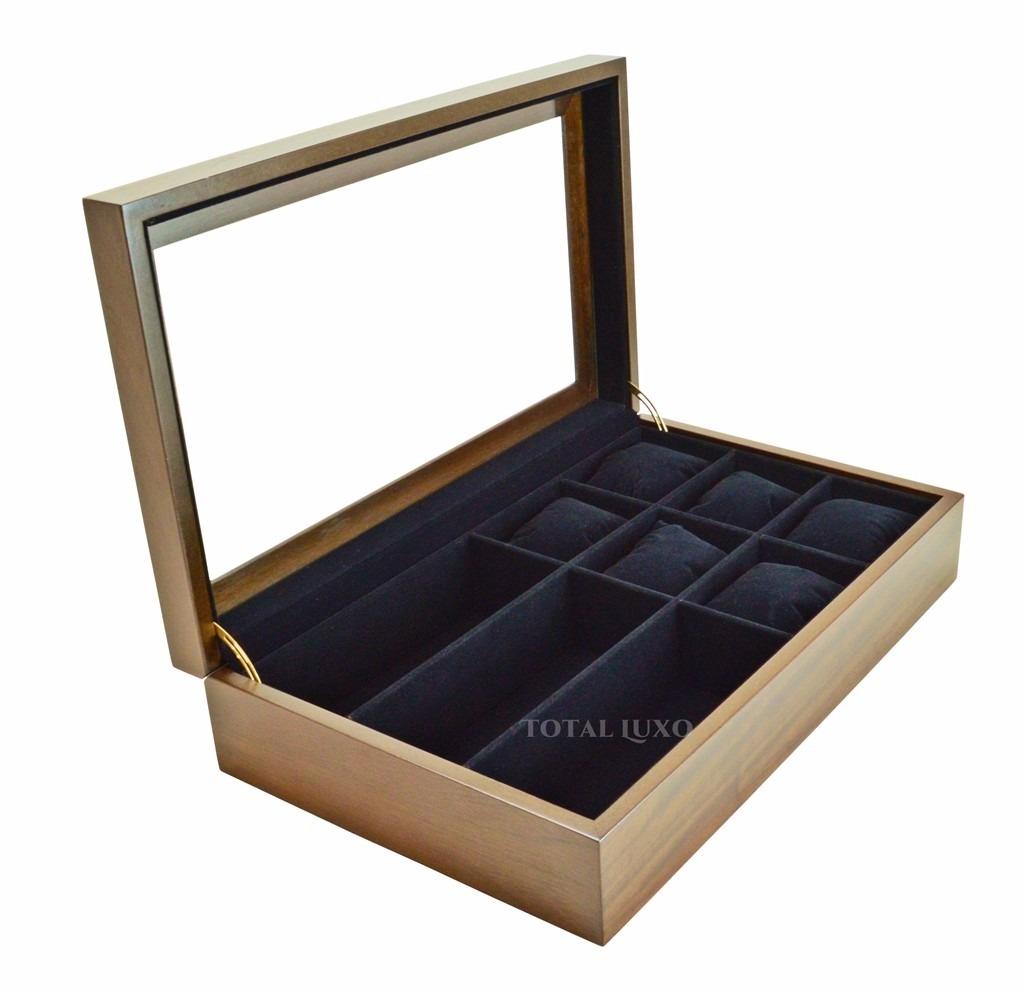 e051f21254a estojo 6 relógios 3 óculos caixa nobre madeira tabaco  preto. Carregando  zoom.