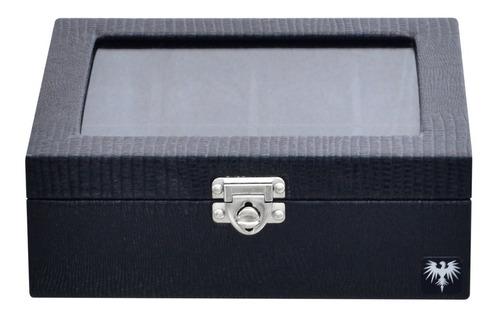 estojo caixa porta 8 relógios maleta organizador couro eco.