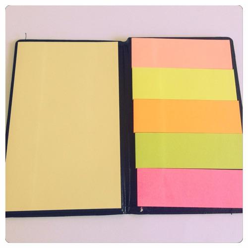 estojo couro ecológico  kit com 10 unidades post it colorido
