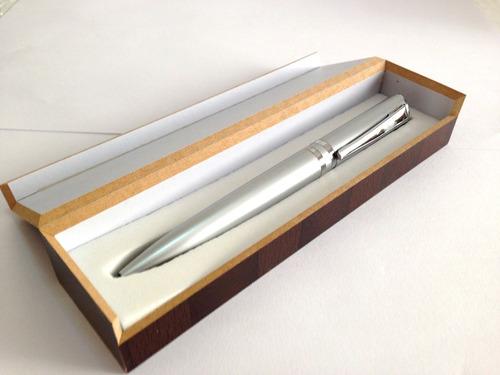 estojo de madeira caneta metal esferográfica super macia