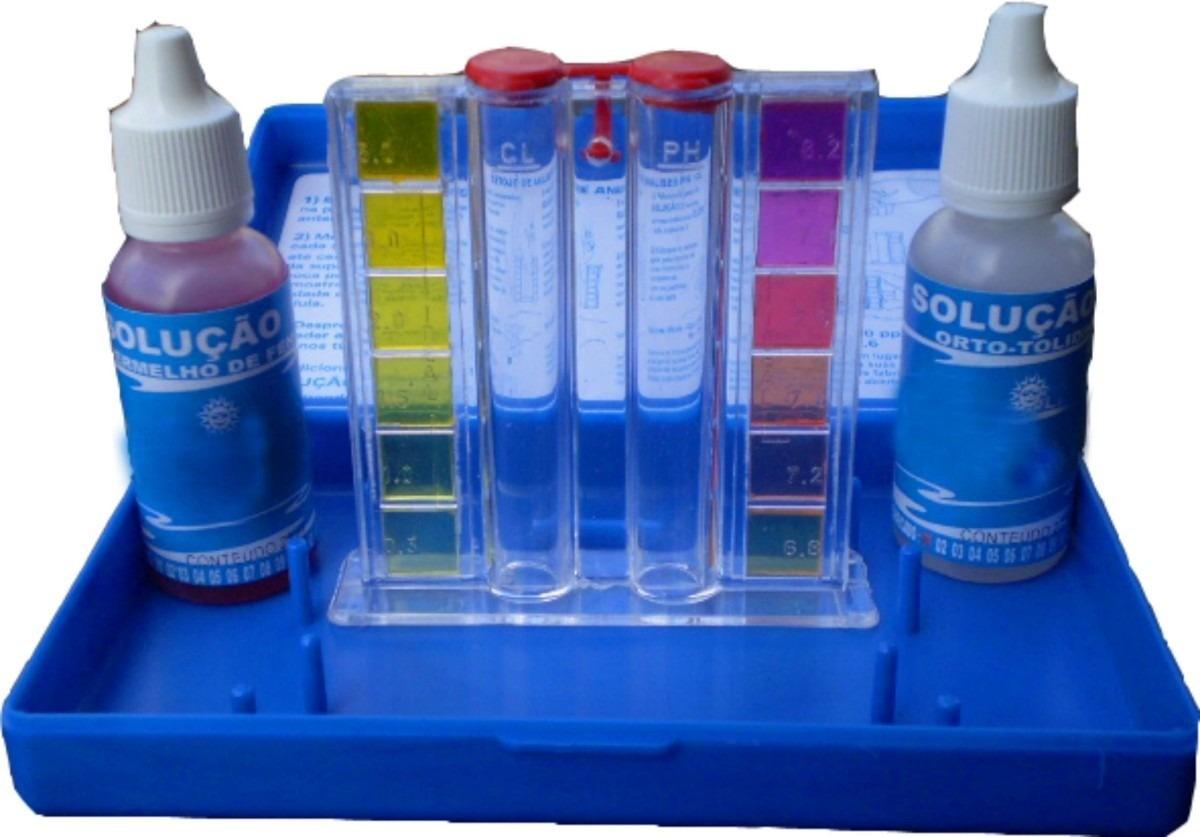 Estojo de teste para medir ph e cloro da piscina r 22 for Cloro liquido para piscinas
