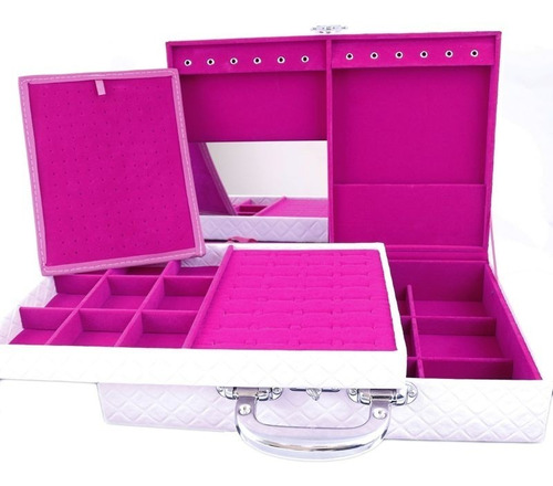 estojo duplo grande rosa com interno pink maleta para joias