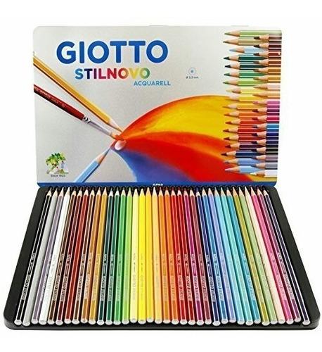 estojo em lata lapis aquarelavel giotto sextavado 36 cores