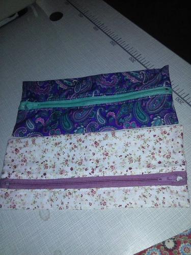 estojo esc simples tecido cores variadas 6 pç