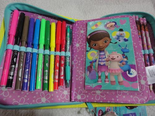 estojo escolar doutora brinquedos lápis canetinha 30 peças
