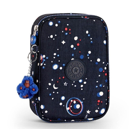 estojo grande 100 pens azul galaxy party kipling