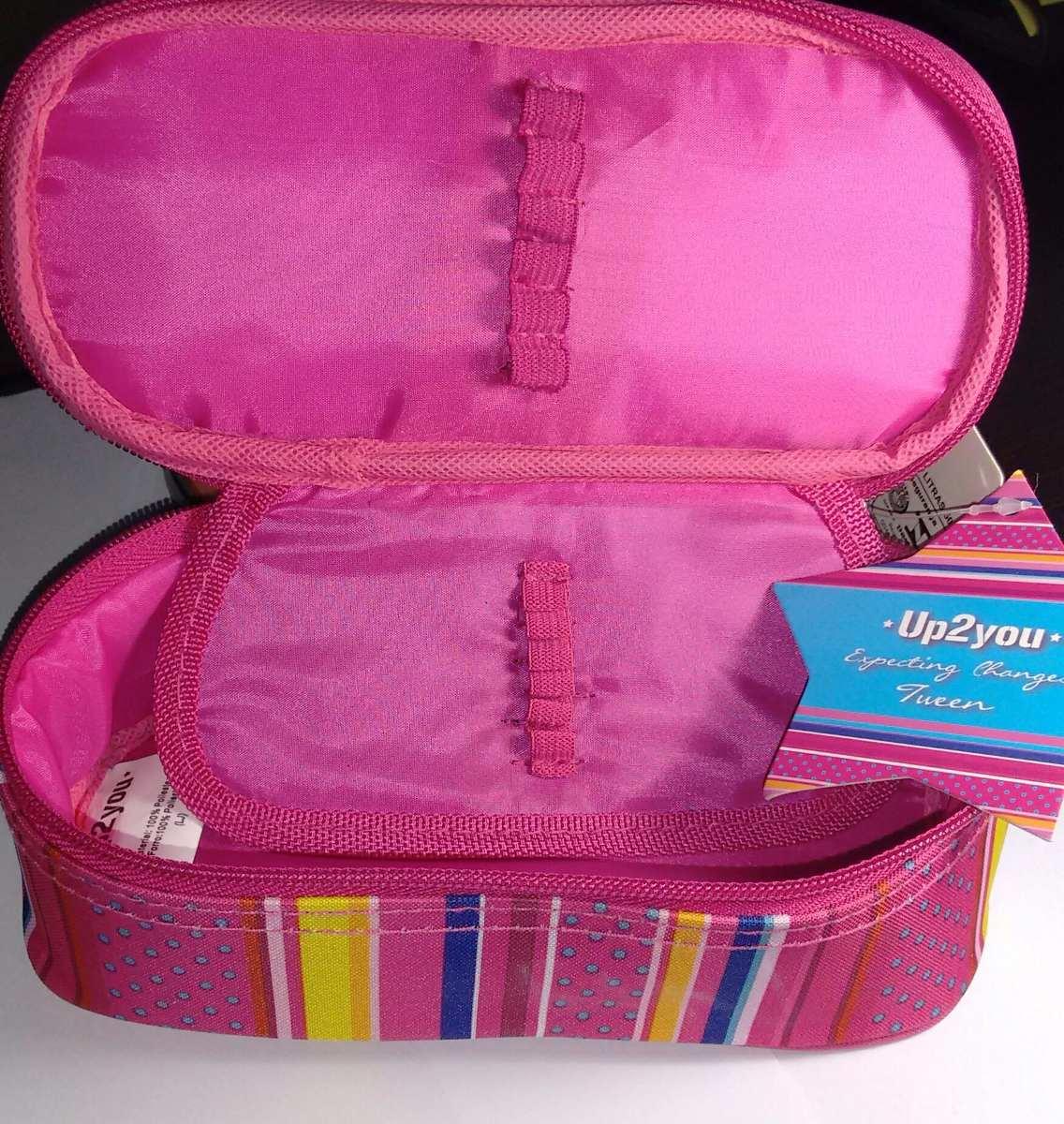 Estojo Juvenil Feminino Escolar Ou Porta Maquiagem Pink M  R$ 38,90 em Merca -> Banheiro Feminino Ou Feminina