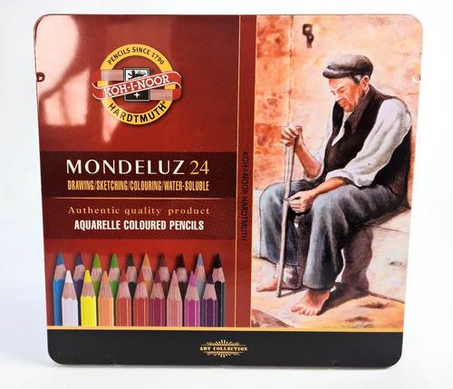 estojo lápis de cor aquarelável mondeluz 24 cores koh-i-noor