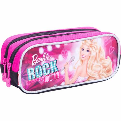 estojo lápis duplo escolar menina barbie rock'n royals 64352
