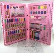 estojo maleta escolar pintura 86 peças canetinhas giz rosa