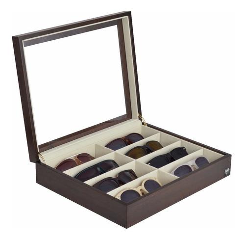 estojo organizador nobre para 8 óculos caixa expositor