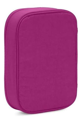 estojo original grande 100 pens kipling rosa escuro