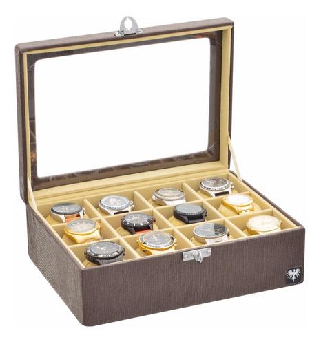 estojo p 12 relógios 3x4 couro caixa organizadora total luxo