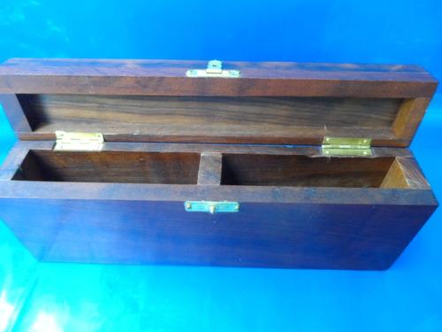 estojo p/ 2 jogo de baralho em madeira imbuia sem baralho