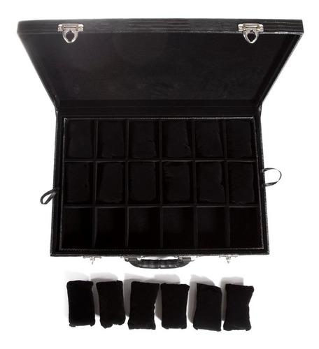 estojo para 36 relógios couro ecológico preto maleta caixa.