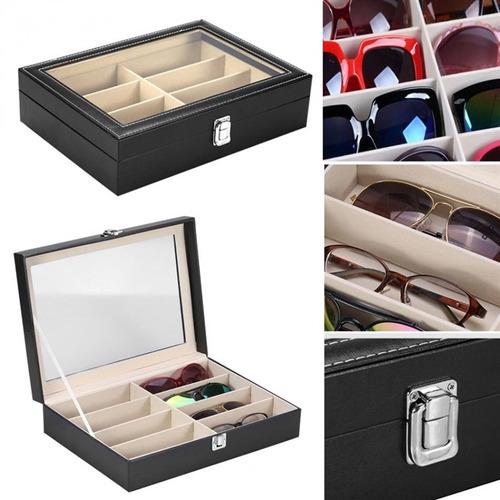 estojo porta 8 oculos caixa em madeira couro com visor luxo