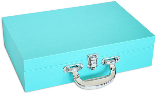 estojo / porta joias / maleta grande dupla - tiffany blue