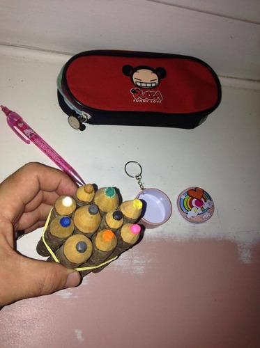 estojo pucca lapiseira hello kitty lápis cor chaveiro $59,98