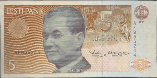 estonia, 5 krooni 1991 p71a