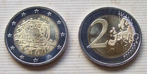 estonia - moneda 2 euros 2015 - bandera europea ¡ s/circ.!