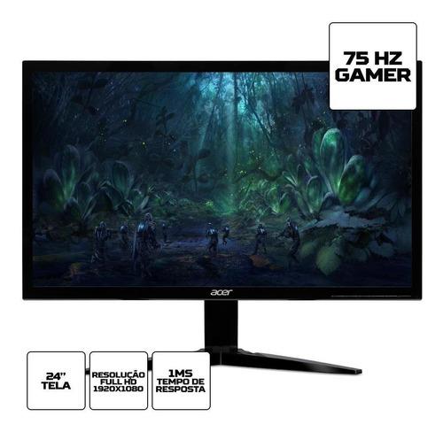 estoque limitado! monitor gamer acer kg 24  full hd 75hz