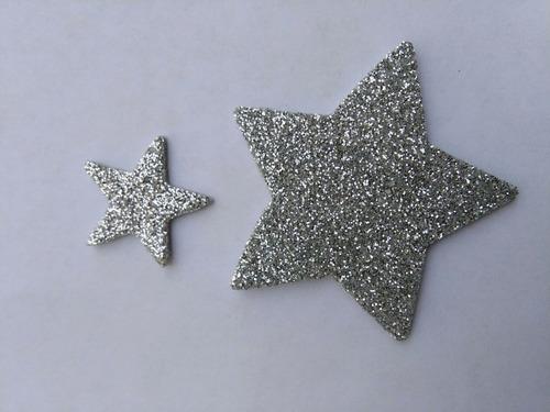 estrella de 5cm -aplique en goma eva con brillantina-