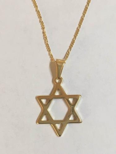 estrella de david con cadena 45cm oro laminado 14k