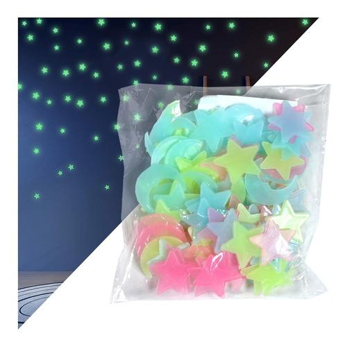 estrellas fluorescentes adheribles decorativas