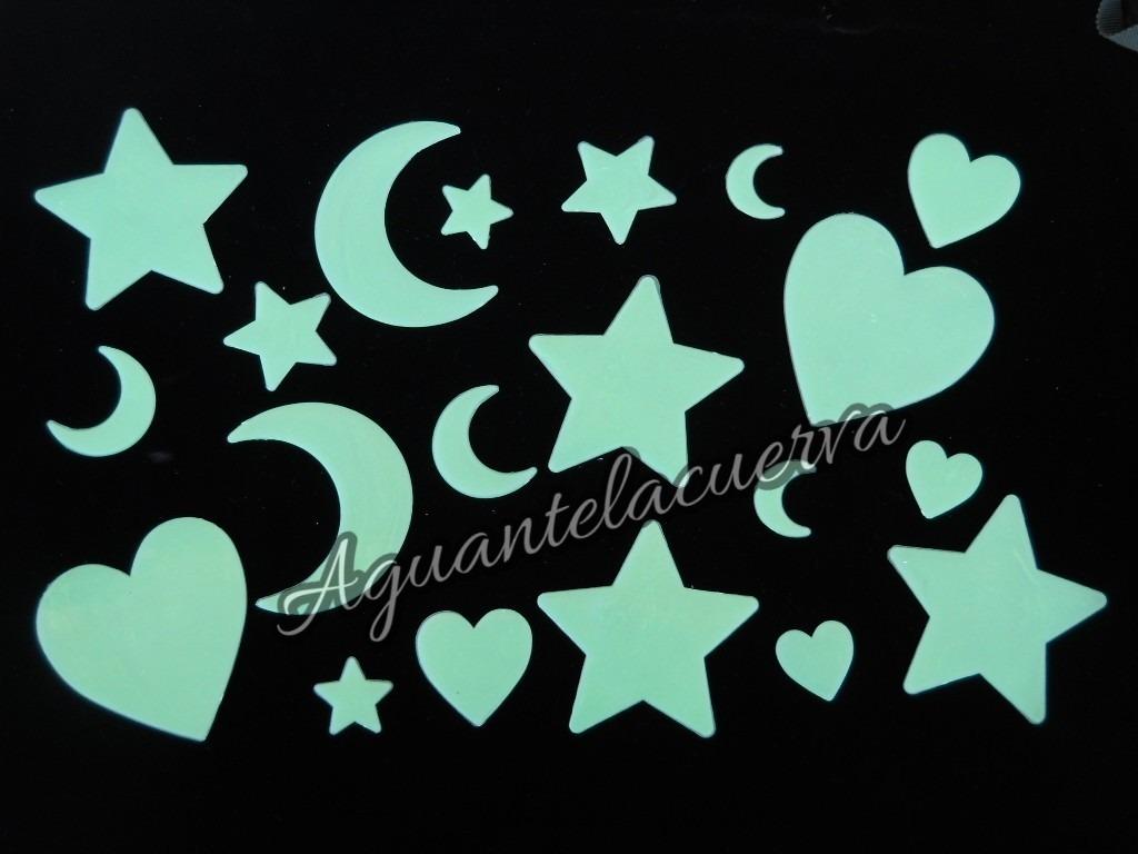 Estrellas Lunas Y Corazones Fluorescentes X 20 Unidades 20000