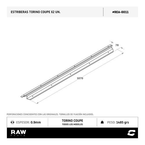 estriberas cubre zocalo raw parts torino coupe inox x2
