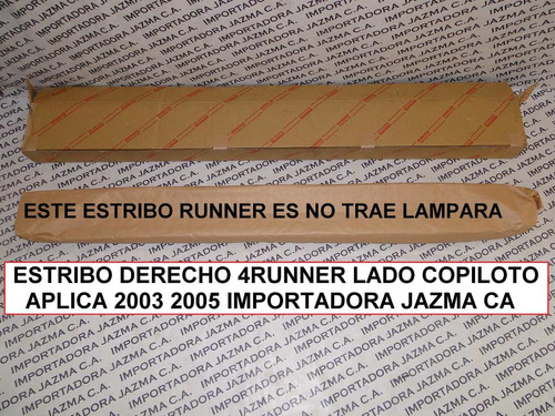 estribo derecho 4runner 2003 2009 orig toyota 4x2
