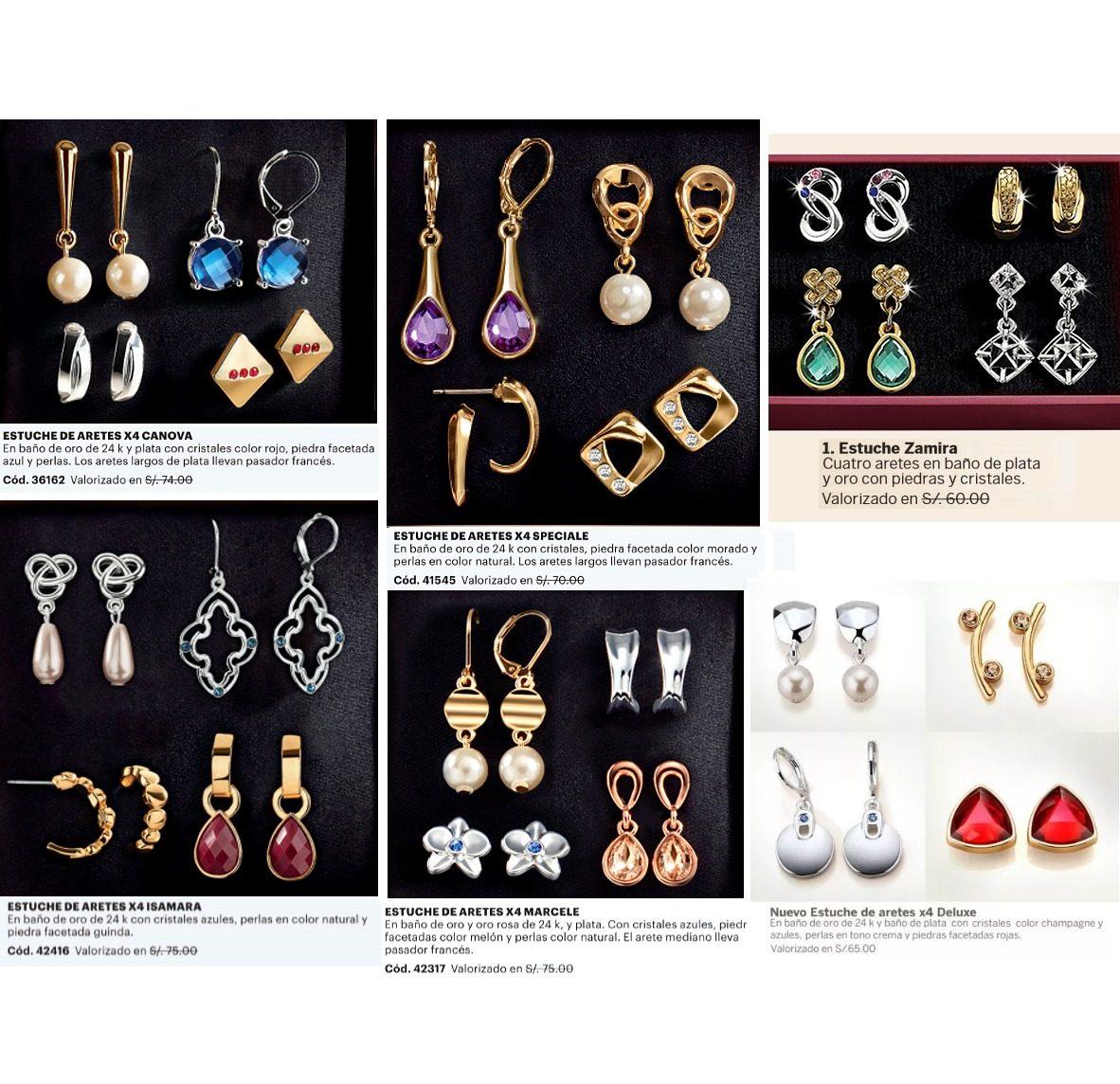 a84129e5ec09 Estuche 4 Pares Aretes Baño Oro Plata Perlas Cristales Esika