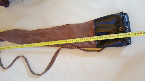 estuche antiguo para rifle en cuero y tela