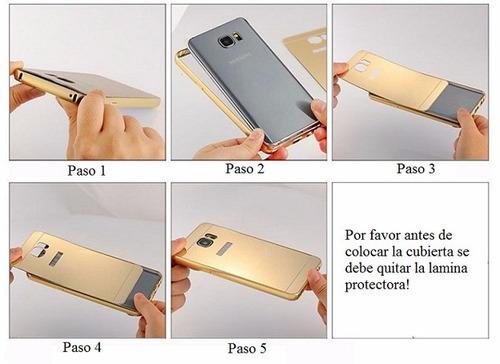 estuche bumper de aluminio dorado + tapa trasera tpu s7 edge