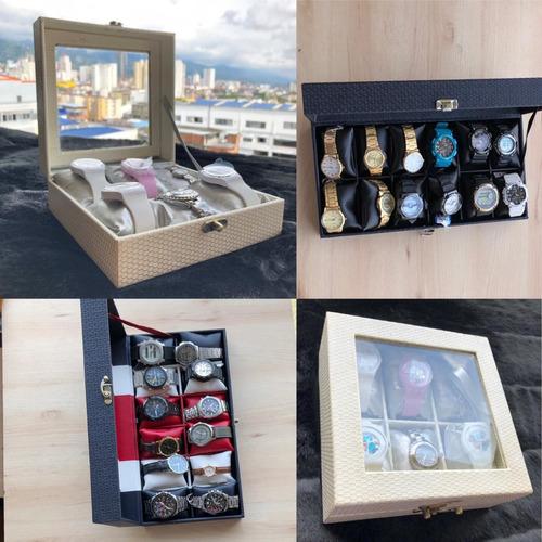 estuche, caja organizadora de relojes por 6 unidades+envio
