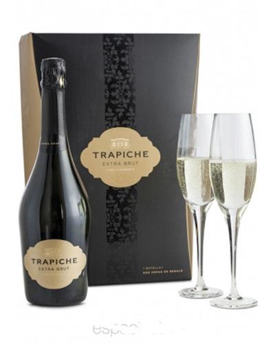 estuche champagne trapiche extra brut x750cc + 2 copas