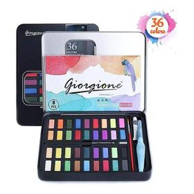 Estuche Con Acuarelas Y Pinceles 36 Colores