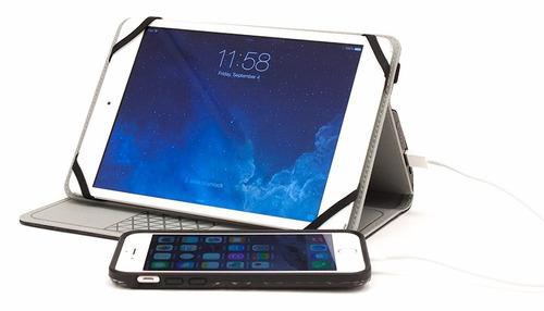 estuche cuero + power bank 4000mah tablet's 7 y 8 pulgadas