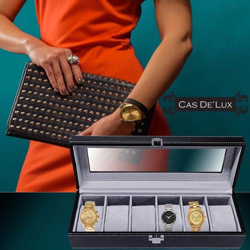 estuche de lujo caja organizadora 6 relojes