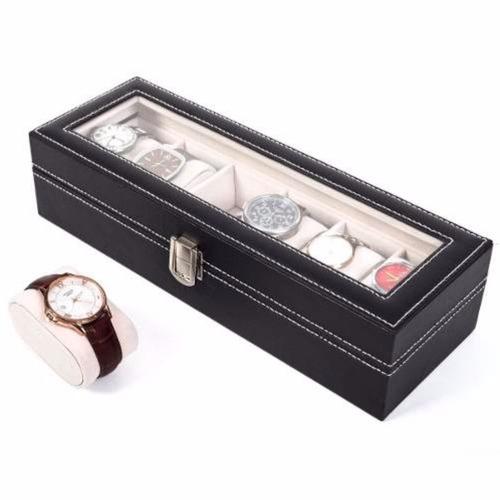 estuche de lujo caja organizadora para 6 relojes negro