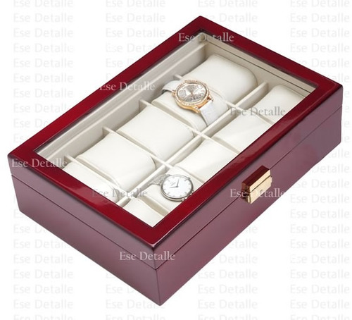 estuche de madera para 10 relojes con tapa de cristal
