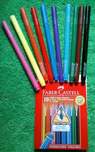 estuche de marcadores punta fina faber castell de 10 colores