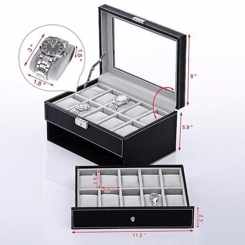 estuche de piel para 20 relojes vidrio real + envio gratis
