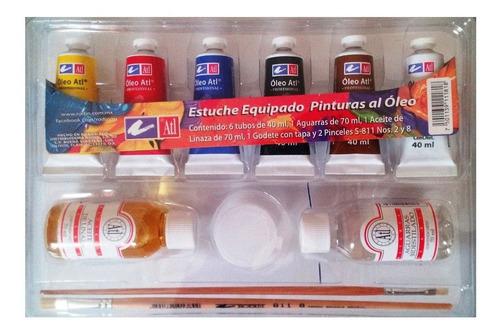 estuche de pintura al oleo básico con accesorios 11 piezas