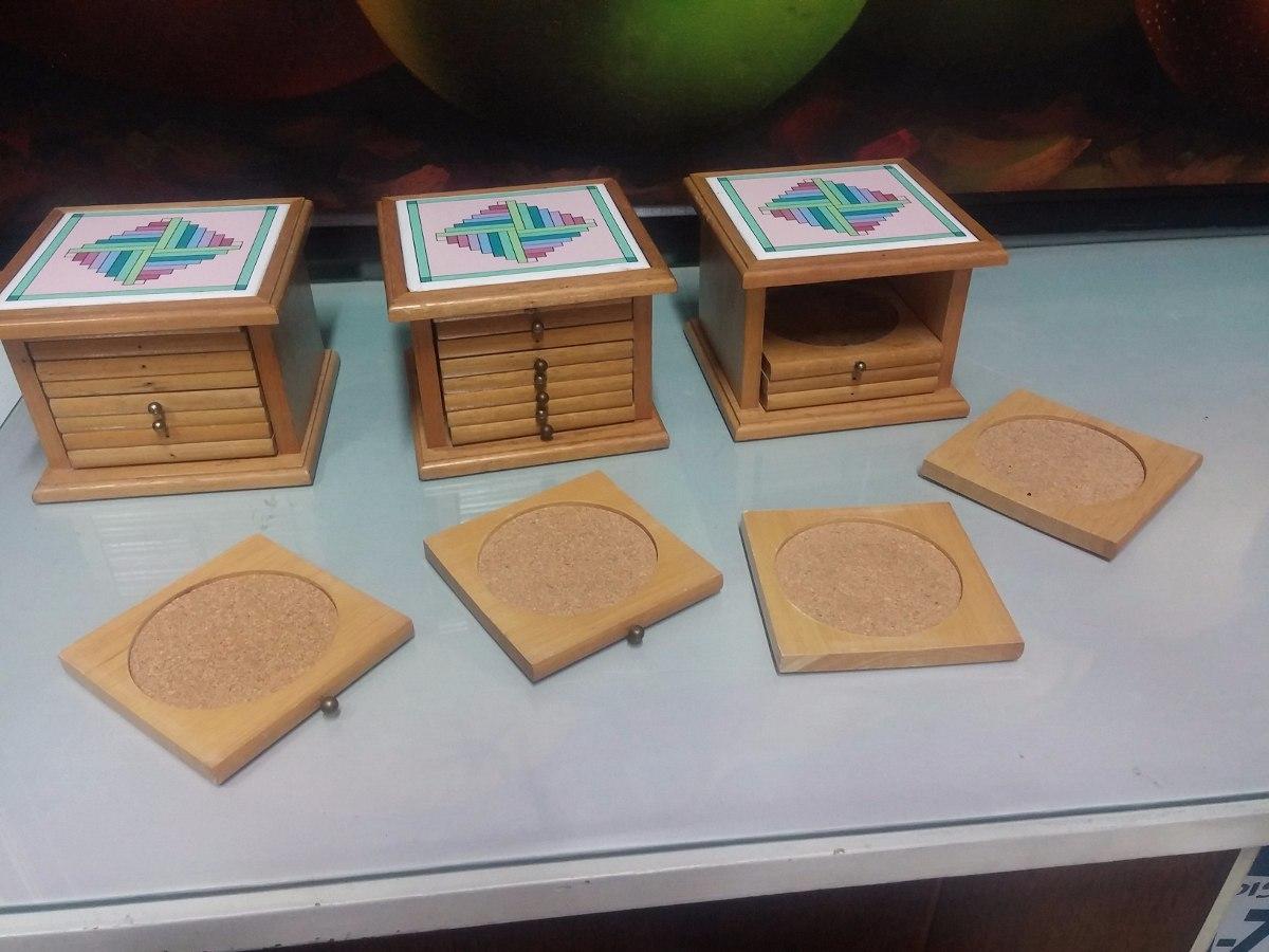 Estuche de portavasos en madera y porcelana precio x c u for Precio encimera de madera
