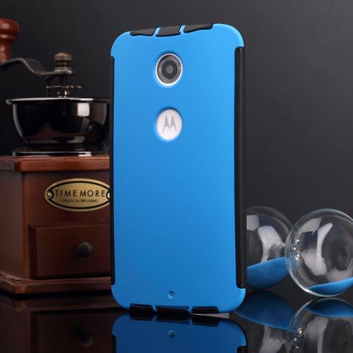 estuche durable azul para motorola google nexus 6+protector