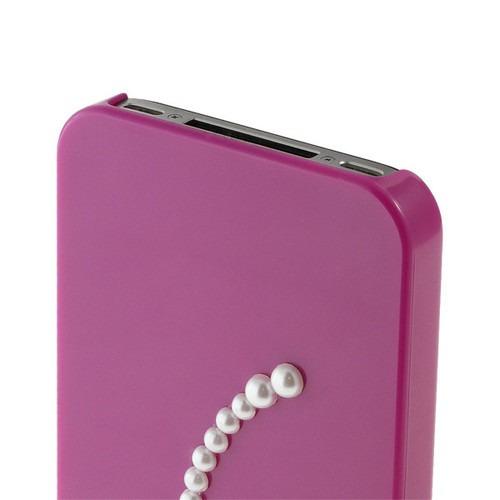 estuche duro purpura 3d perla diamante flor para iphone 4 4s